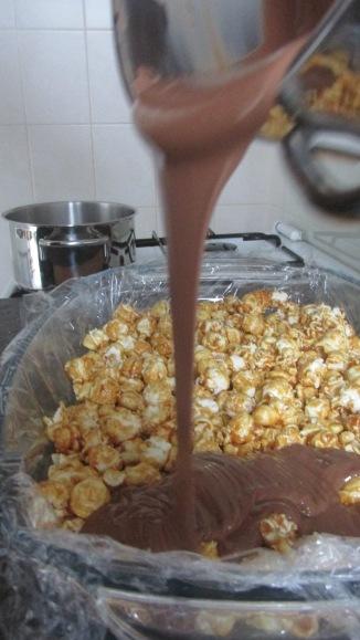 chocolade karamel popcornrepen