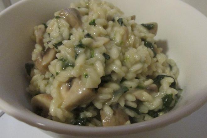 risotto met spinazie en champignons