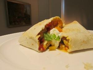 burrito's met kipfilet en paprika