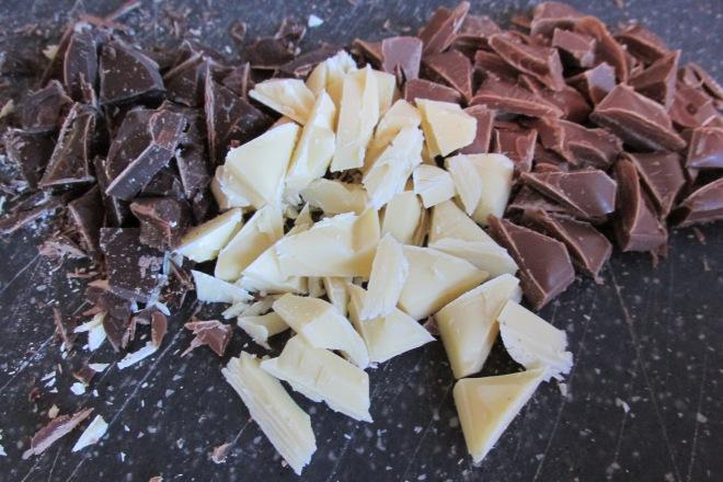 brownies met 3 soorten chocola