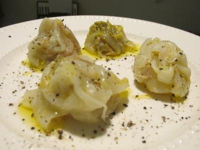 Koude witlof bolletjes met olijfolie